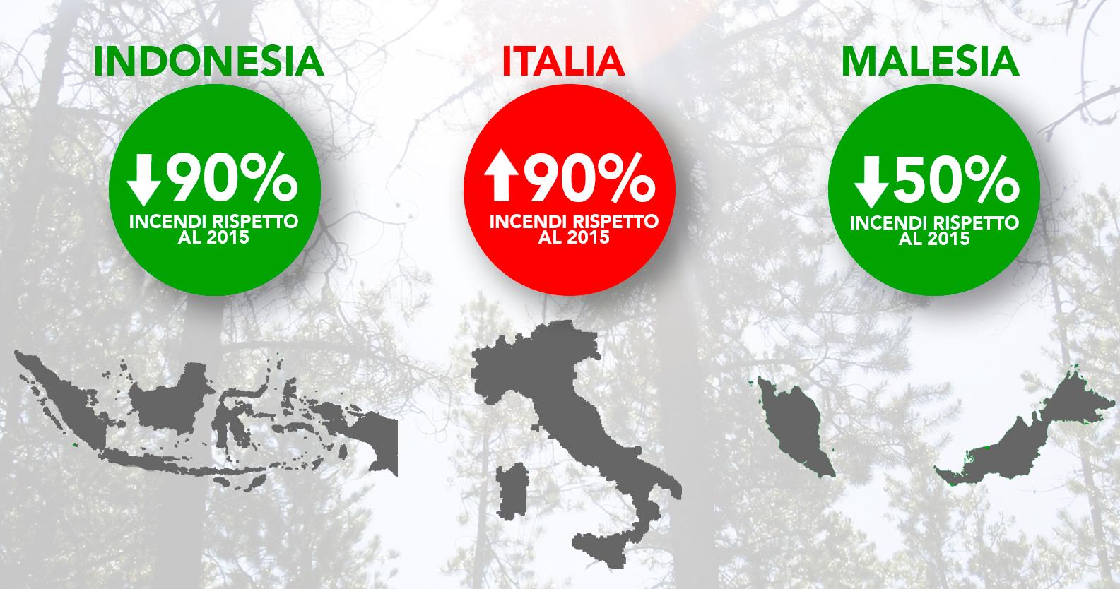 Dove ci sono più incendi? Confronto fra Italia, Indonesia e Malesia
